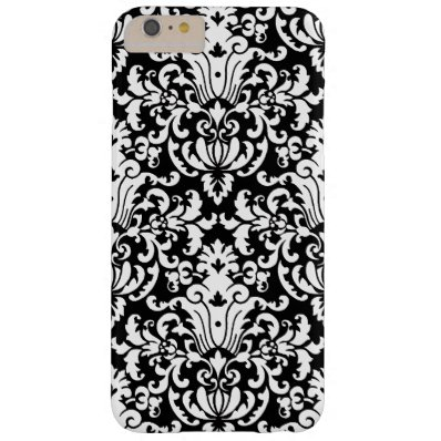 Black and White Elegant Damask Barely There iPhone 6 Plus Case