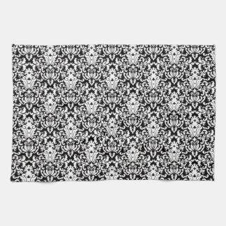 Black and White Elegant Damask Kitchen Towel