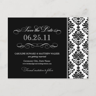 black and white elegant damask save the date announcement postcard