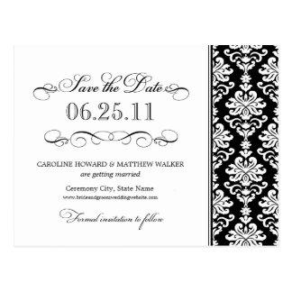 Black and White Elegant Damask Save the Date Postcard