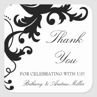 Black and White Elegant Damask Thank You Stickers