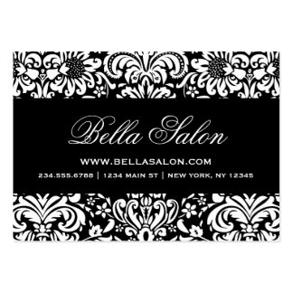 Black and White Elegant Floral Damask Business Card Template
