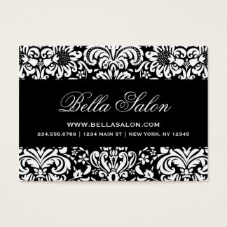 Black and White Elegant Floral Damask Business Card