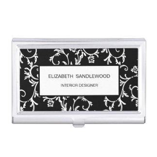 Black and White Elegant Floral Damask Business Card Case