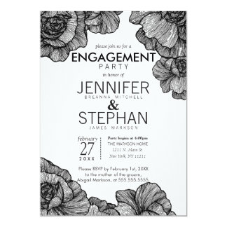Black and White Elegant Floral Engagement Party Card