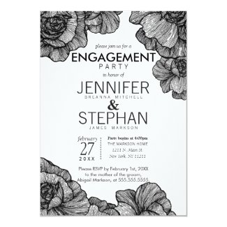Black and White Elegant Floral Engagement Party Invitation