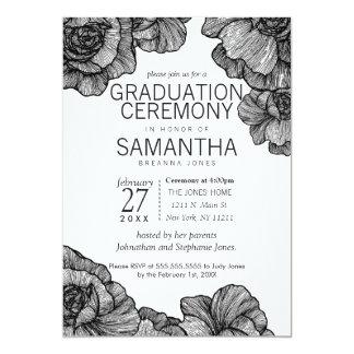 black and white elegant floral graduation ceremony card - Graduation Ceremony Invitation