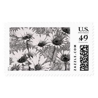 Black and White Elegant Flowers Stamps