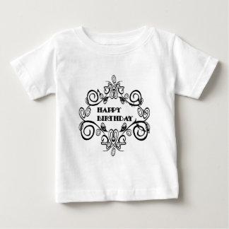 Black And White Elegant Happy Birthday Baby T-Shirt