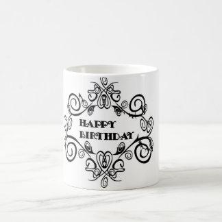 Black And White Elegant Happy Birthday Mug
