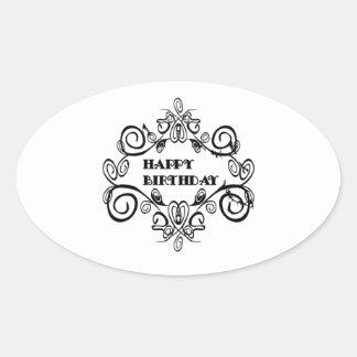 Black And White Elegant Happy Birthday Oval Sticker