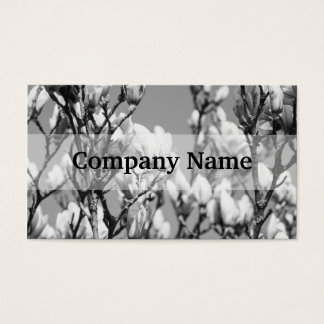 Black and White Elegant Magnolia Tree Business Card