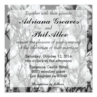 Black and White Elegant Magnolia Tree Card