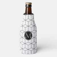 Black and White Elegant Monogram Bottle Cooler