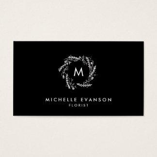 Black and White Elegant Monogram Floral Wreath Business Card