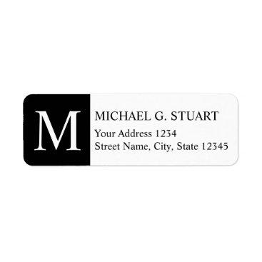Professional Business Black and White Elegant Monogram Label