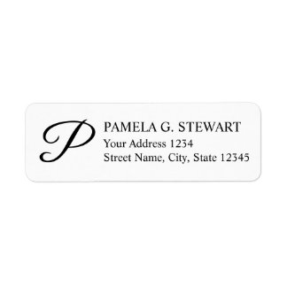 Black and White Elegant Monogram Label