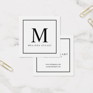 Black and White Elegant Monogram Square Business Card