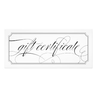 Black and White Elegant Script Gift Certificates
