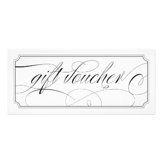 Black and White Elegant Script Gift Vouchers Rack Card