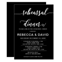 Black and White Elegant Script Rehearsal Dinner Card