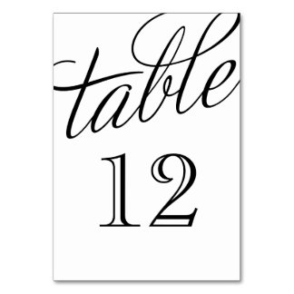 Black and White Elegant Script Table Numbers