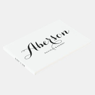 Black and White Elegant Script Wedding Guest Book
