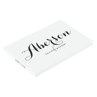 Black and White Elegant Script Wedding Guest Book