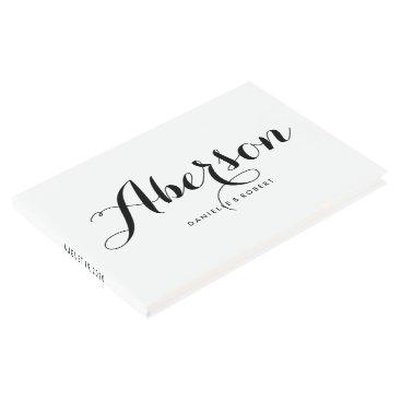 purplepaperinvites Black and White Elegant Script Wedding Guest Book