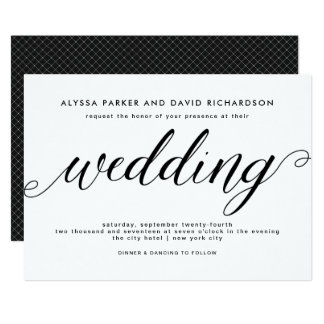 Black and White Elegant Script Wedding Invitation