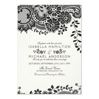 Black and white elegant vintage lace wedding card