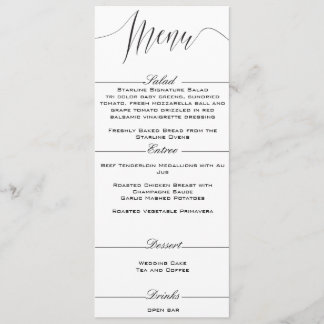 Black and White Elegant Wedding Menu