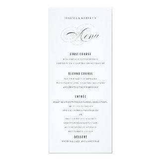 Black and white Elegant Wedding Menu Script 4x9.25 Paper Invitation Card