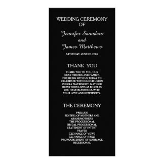 Black and White Elegant Wedding Programs Full Color Rack Card
