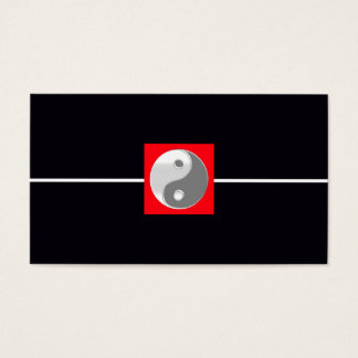 Black and White Elegant Wedding Red Yin Yang Chic Business Card