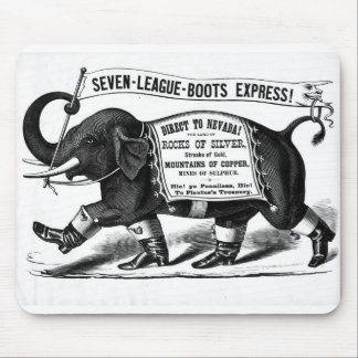 Black and white elephant boot ad mouse pad