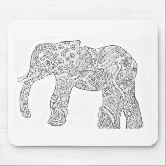 Black and White Elephant Design Mouse Pad