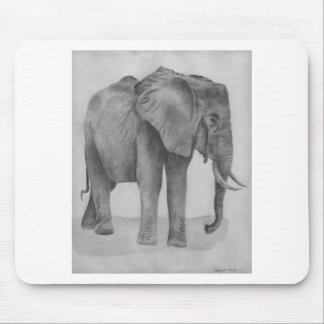Black and White Elephant Mouse Pad