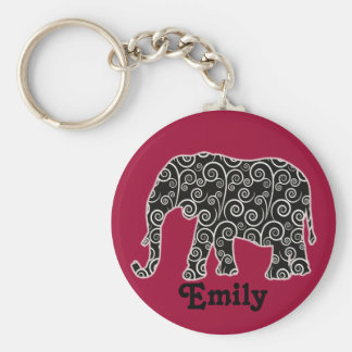 Black and White Elephant on Red Personalized Keychain