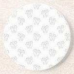 Black and White Elephant Pattern. Beverage Coaster