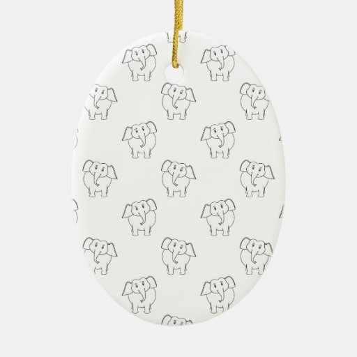 Black and White Elephant Pattern. Double-Sided Oval Ceramic Christmas Ornament