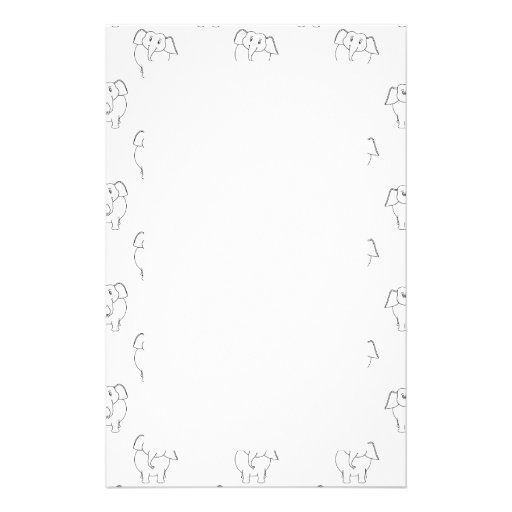 Black and White Elephant Pattern. Personalized Stationery