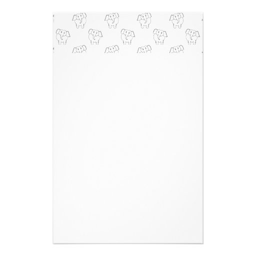 Black and White Elephant Pattern. Stationery Paper