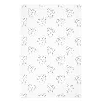 Black and White Elephant Pattern. Stationery