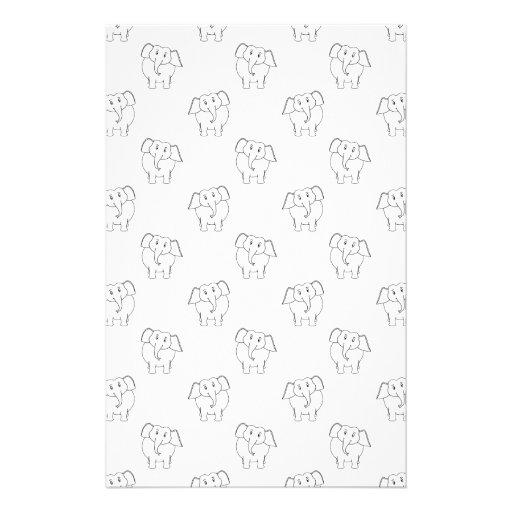 Black and White Elephant Pattern. Customized Stationery