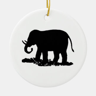 Black and White Elephant Silhouette Ceramic Ornament
