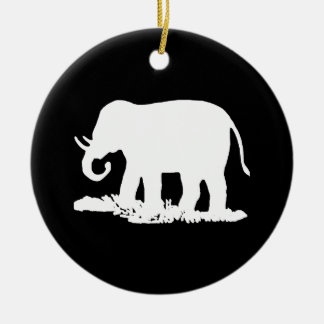 Black and White Elephant Silhouette Double-Sided Ceramic Round Christmas Ornament