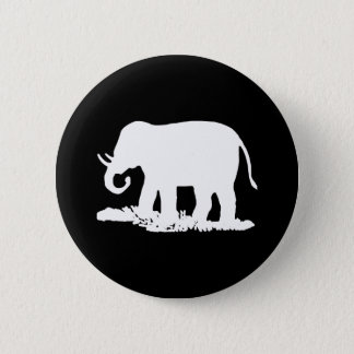 Black and White Elephant Silhouette Pinback Button