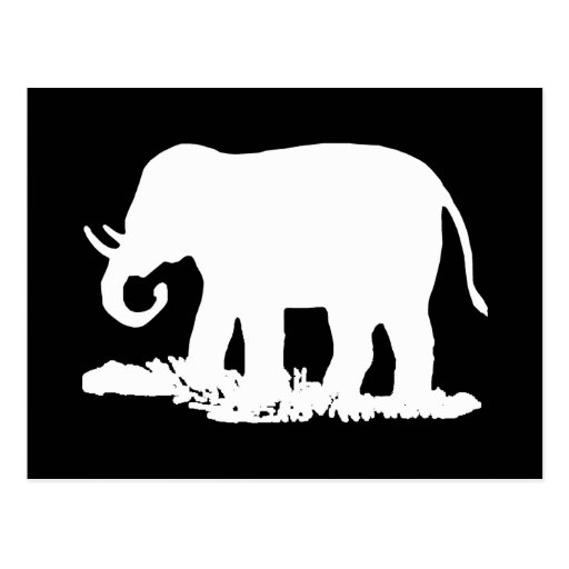 Black and White Elephant Silhouette Post Cards