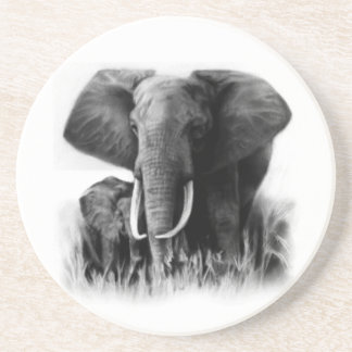 Black And White Elephants Coaster Drink Coasters